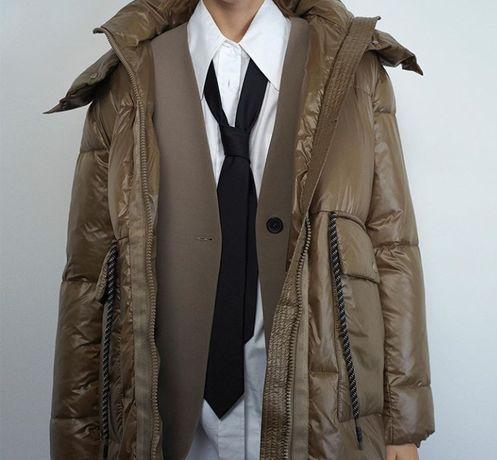Zara kurtka płaszcz błyszcząca khaki s/m