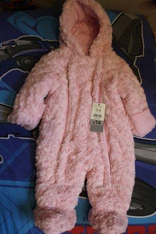 Новый демисезонный розовый комбинезон George Англия, 3-6 мес.