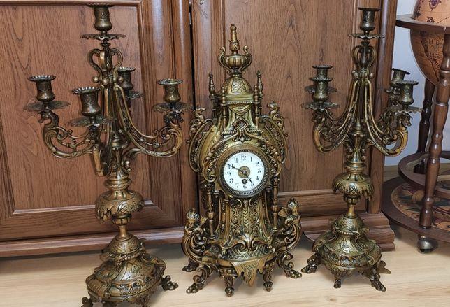 Niespotykany ,Wielki zegar kominkowy z kandelabrami ,mosiądz ,XIX wiek