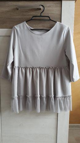 szara bluzka z falbanką