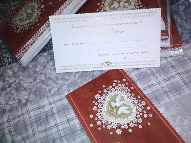 Zaproszenia ślubne z bilecikiem na wesele