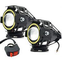 Фары прожекторы для мотоцикла CREE U7 LED 12В 3000лм Devil Eyes + кноп