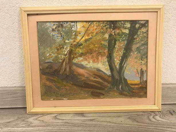 Malowany,sygnowany obraz pejzaż jesienny 44,5 na 34,5cm /9.3