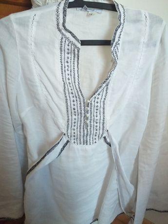 Camisa em linho branca e preta tamanho M