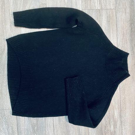 Стильный шерстяной свитер Massimo Dutty. Черный. Без деффектов