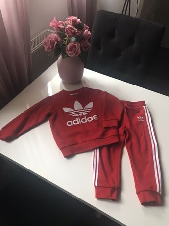 Dres Adidas, 98-104 dresik, oryginalny, czerwony, biały