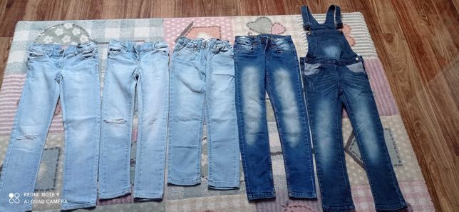 Jeansy dziewczęce 128 5szt