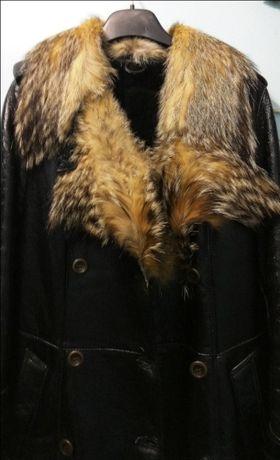 Дубленка кожаная женская, натуральная, воротник енот, размер 36