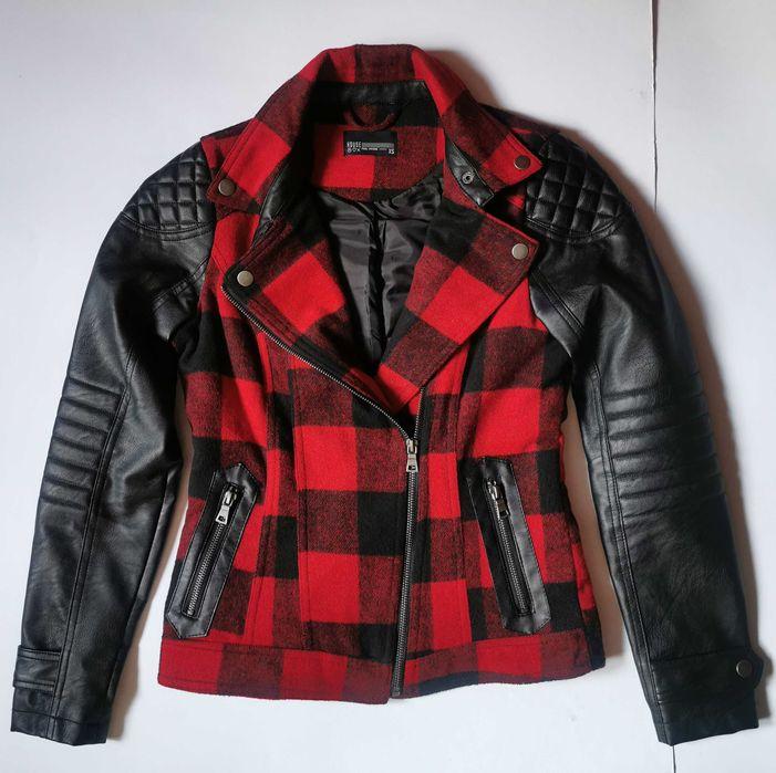 Kurtka w czerwoną kratkę ramoneska biker jacket punk skórzana House XS Bydgoszcz - image 1