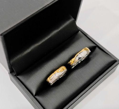Złote obrączki półokrągłe biało/żółte z cyrkoniami Swarovski