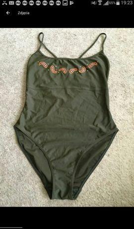 Strój kąpielowy jednoczęściowy modny haft przy dekolcie khaki