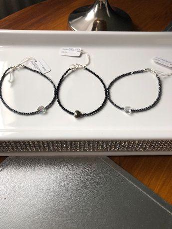 Bransoletka srebrna, hematyt, spinel, Swarovski handmade kamień natura