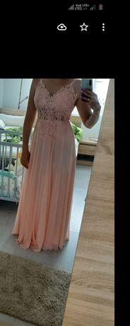 Sukienka maxi pudrowy róż