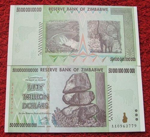 ZIMBABWE 50 TRYLIONÓW DOLARÓW Kolekcjonerski Banknot - 1 sztuka UNC