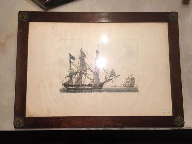 Moldura  com estampa de barco