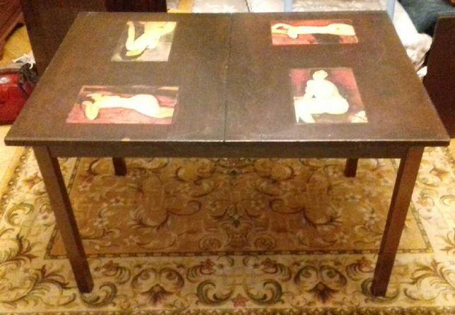 Stół vintage decoupage PRL