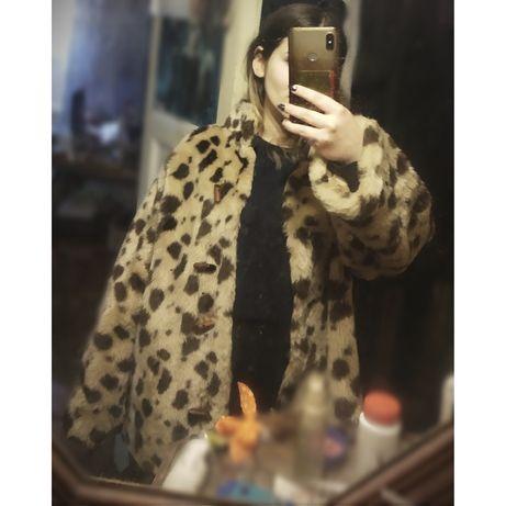 Шуба леопард полушубок