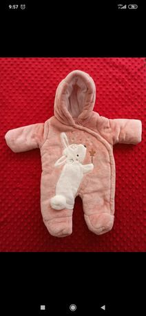 Kombinezon dla dziewczynki niemowlecy 56 pluszowy cieply