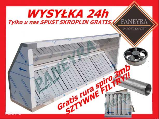 Okap Gastronomiczny 220x70x40+Filtry+Wentylator Nowy Wysyłka