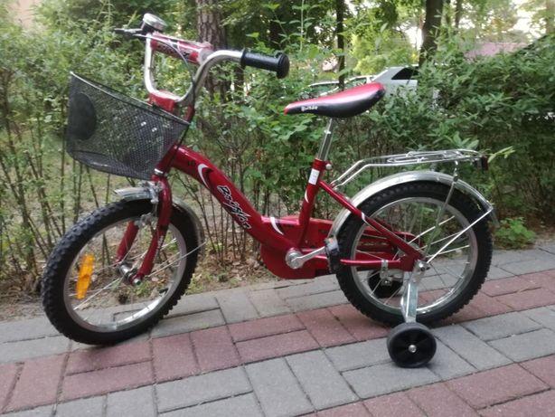 Rower dziecięcy 16 cali Bright czerwony, boczne kółka, prowadnik