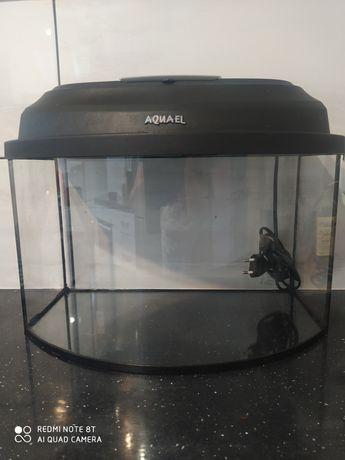 Akwarium 40x25x25 profilowane z pokrywą i oświetleniem