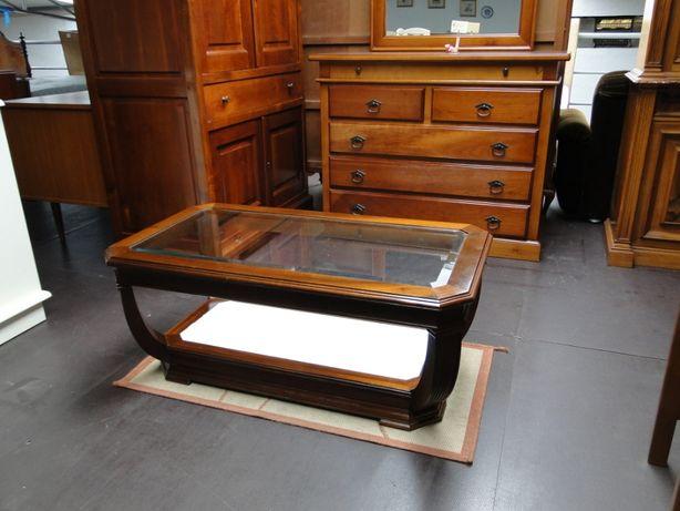 Mesa de centro com duas bases em vidro - óptimo estado
