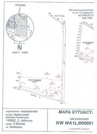 Wydzierżawię działki 8700 i 2500 m/2 Modlińska Jabłonna-Nowy Dwór