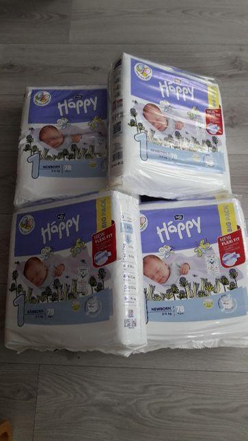 Pieluchy Bella HAPPY 1 newborn 2-5kg. Nowe 7 paczek po 78szt