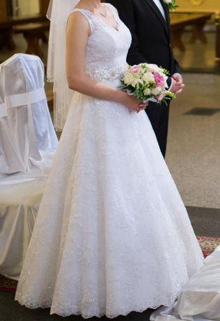 KORONKOWA suknia ślubna S 36 biała boho linia A princessa OKAZJA