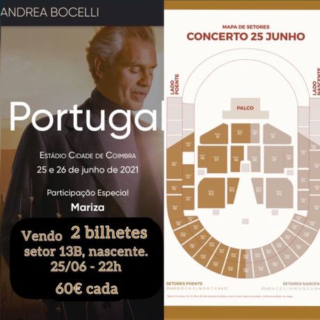 Andrea Bocelli - 2 bilhetes - ingressos