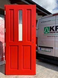 Drzwi zewnętrzne drewniane grube 75mm Czerwone ral 3020