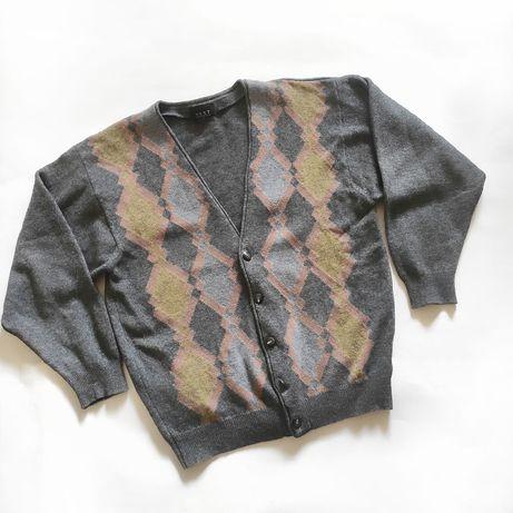 Шикарный мужской кардиган кофта шерсть Next M серый тёплый осенний