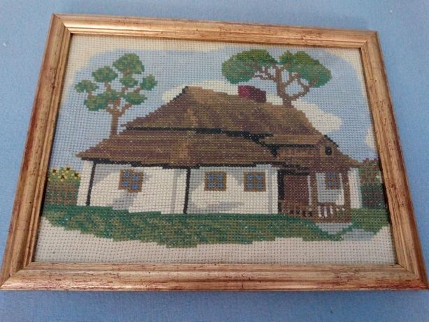 Obrazek haft krzyżykowy chatka