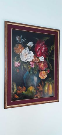 Obraz martwa natura jesień kwiaty