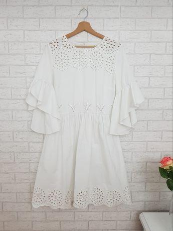 Biała ażurowa sukienka haft kwiaty roz 44 XXL Asos nowa