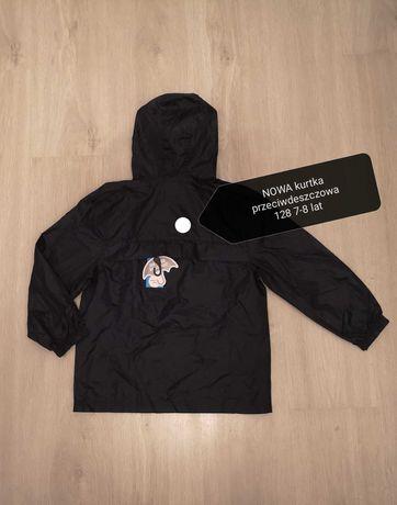 Nowa kurtka spodnie komplet przeciwdeszcz 128 wiatrówka cienka kaptur