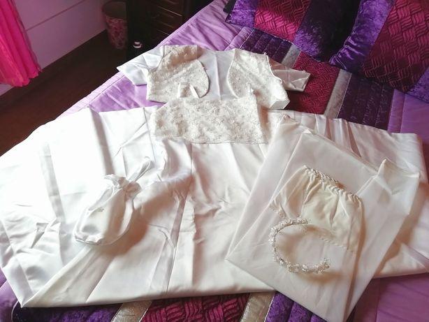 Vestido Comunhão Solene Profissão de Fé c/ Saiote Coroa e Bolsinha