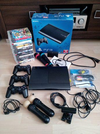Konsola PS3 Super Slim zestaw 17 gier , kontrolery i mikrofony