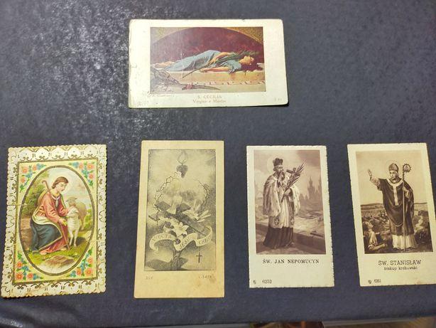 Obrazki ze Świętymi lata 1943 - 1949 zestaw 5 sztuk
