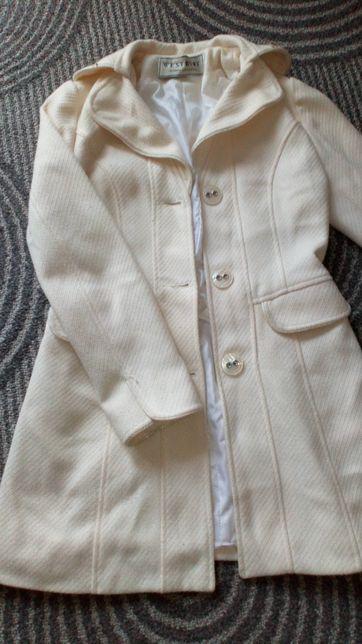 Płaszcz kremowy r. 34 xs
