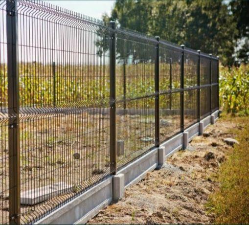 Ogrodzenie panelowe 1.53mx2.50m z drutu fi4 mm + podmurówka betonowa