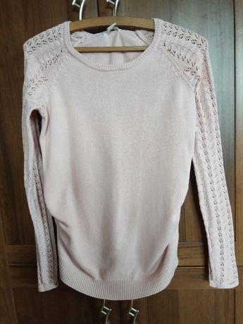 Sweter sweterek ciążowy h&m mama rozmiar m pudrowy róż ażurowe rękawy