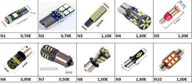 Lampada t5, T10, Ba15s, bay15d, bau15s, t20, tubular, ba9s canbus