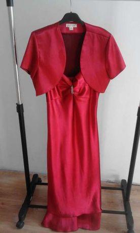 Sukienka czerwona/bordowa atłasowa, na bal na karnawał, rozmiar M / L
