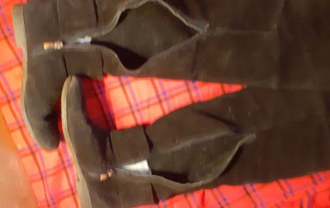 ЧЁРНЫЕ сапоги-ботфорты замшевые. Длина по стельке 23 см
