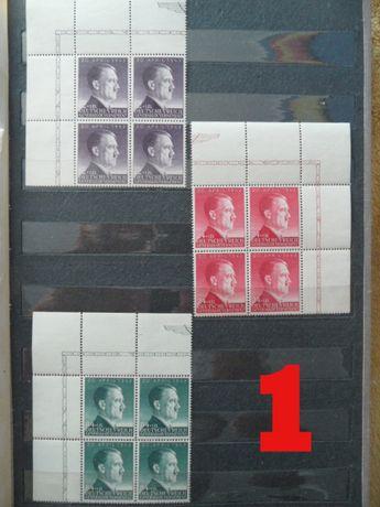 stare znaczki pocztowe czwórki naroznik GG hitler
