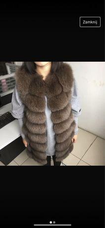 Kamizelka futrzana grube futro naturalne brazowa dluga 90cm cs 34 s 36