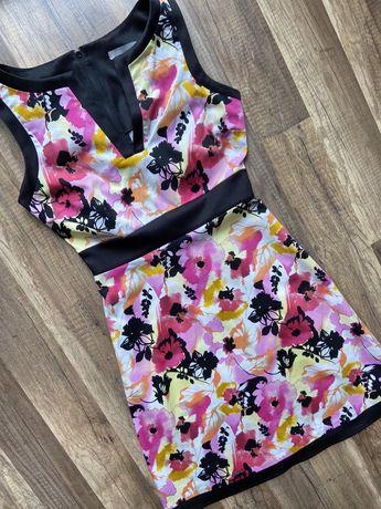 Kolorowa bawełniana sukienka w kwiaty Orsay w rozm. S