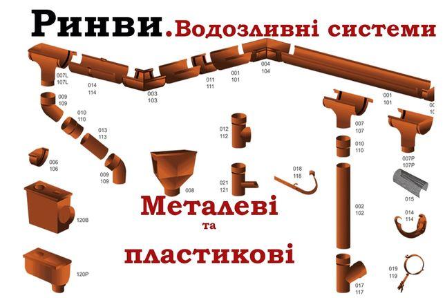 Ринви, Труби, Жолоб, Водостічні, Водозливні системи, Метал, Пластик