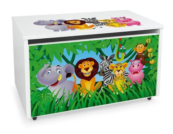 Duża drewniana skrzynia na zabawki XXL na kółkach Motyw: Zwierzaki